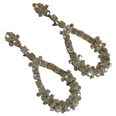 Vintage Rhinestone Diamond Dangle Screw On Earrings