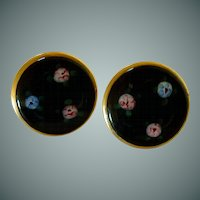 Gold Tone Black Enamel / Flowers Screw On Earrings