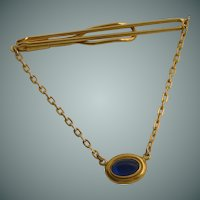 Swank Blue Faux Stone Chain Tie Bar
