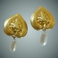 Gold Tone Heart / Faux Pearl Dangle Clip On Earrings