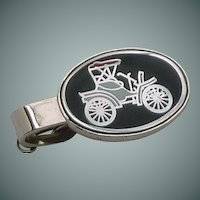 Silver Tone Model  T On Black Enamel Tie Clip