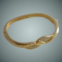 Wrist Gold Tone and Diamond Rhinestone Bangle Bracelet