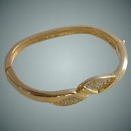 Wrist Gold Tone and Diamond Rhinestone Bangle Bracelet