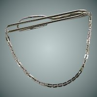 Beautiful Plain Swank Silver Tone Chain Tie Bar