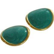 Teal Blue Enamel Gold Tone Clip On Earrings