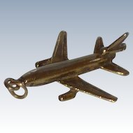 Gold Tone Airplane Jet Bracelet Charm