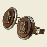 Metal Bronze Cameo Centurion Roman Brown Wood Cufflinks Cuff Links