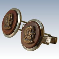 Metal Bronze Cameo Centurion Roman Brown Wood Cufflinks Cuff Links