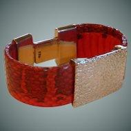 Sterling Silver Red Snakeskin Clamp Bracelet