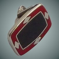 Oval Dark Red Bar Clip for Skinny Tie 1960s