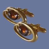 Swank Gold Tone Amber Yellow Glass Cuff Links Cufflinks