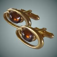 Swank Gold Tone Amber Yellow Glass Cuff Links Cufflinks