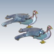 Pink and Blue Mid Century Set of Pin Birds