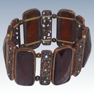 Faceted Gold Tone Brown Stretch Cuff Bracelet