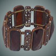 Faceted Gold Tone Brown Stretch Cuff Bracelet
