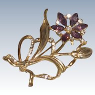 Gold Tone Purple and Diamond Rhinestone Flower Pin