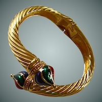 Gold Tone Hinged Bangle Bracelet Signed Joan Rivers