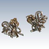 Silver Tone and Rhinestone Diamond Flower Bouquet Earrings