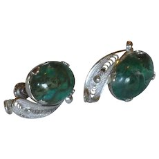 Sorrento Sterling Silver Malachite Screw On Earrings