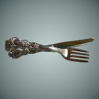 Fork and Knife Silver Tone Tie Bar