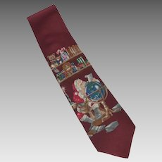 Stafford Santa Checking his List Silk Tie