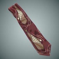 Mario Valentino Maroon & Brown Silk Tie on Tie