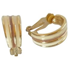 Crème and Brown Gold Tone Half Hoop Clip on Earrings