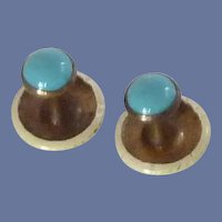 Pair of Shirt Collar Buttons with Turquoise