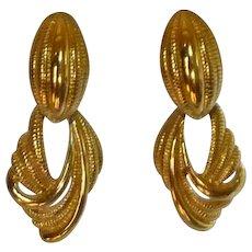 Monet Clip on Dangle Earrings Gold Tone