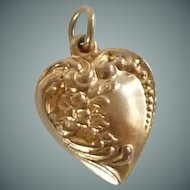 Gold Tone Heart Pendant Charm Mid Century