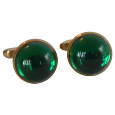 Green Dome Glass Hickok Cufflinks Cuff Links