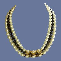 Napier Two Tone Faux Pearl Necklace