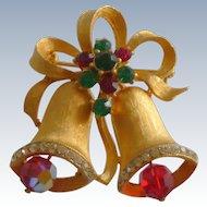 Weiss Christmas Bells Rhinestone Pin