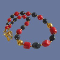 L G Red and Navy Blue Beaded Choker Necklace