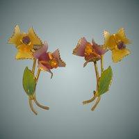 Screw Back Austria Rhinestone Delicate Flower Earrings