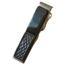 Black Glass Silver Tone Tie Clip Bar