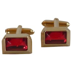 Swank Gold Tone Red Glass Cufflinks