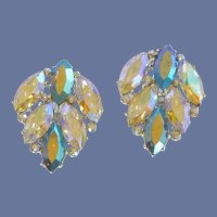 Beveled Rhinestone Clip On Earrings