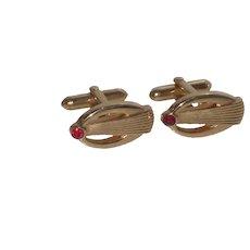 Swank Gold Tone with Red Rhinestone Cufflinks Cuff Links