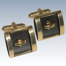 Gold Tone with 2 Dimensional Black Cufflinks Cuff Links