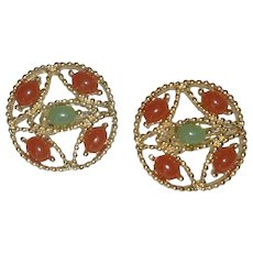 Sarah Coventry Orange and Green Clip On Earrings