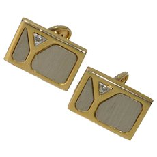 Silver & Gold Tone Martini Glass Cufflink Cuff Links