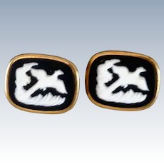 Anson White Pheasant with Black Gold Tone Cufflinks Cuff Links