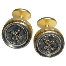 Black on Gold Tone Button Shield Heraldic Cufflinks Cuff Links