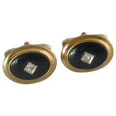 Anson Black Onyx and Diamond Rhinestone Cuff Links Cufflinks