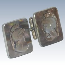 Silver Based Mother of Pearl Cameo Cuff Links Cufflinks