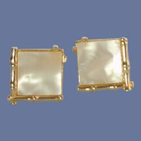 Bamboo Gold Tone with Mother of Pearl Cufflinks Cuff Links