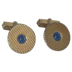 Swank Gold Tone Blue Glass Cufflinks Cuff Links