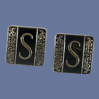 Swank Initial S Silver Tone and Black Cufflinks Cuff Links