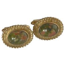Krementz Gold Tone Oval Faux Agate Cufflinks Cuff Links